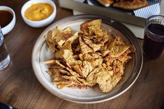 Closeup of nacho snack on table Stock Photos