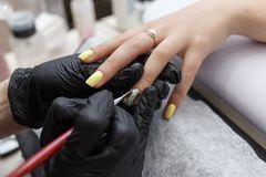 Nail master wearing black gloves applying brush on acrylic nails in the salon. Closeup on manicure. Closeup on nail master wearing black gloves applying a brush royalty free stock images