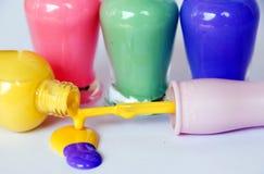 Closeup of nail polish. The colorful nail polish closeup Stock Photos