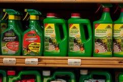 Closeup of natural herbicide in rack in gardening supermarket. Mulhouse - France - 28 December 2017 - closeup of natural herbicide in rack in gardening Stock Photography
