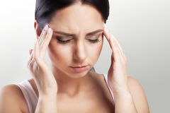 Pain. Headache And Stress. Beautiful Young Woman Feeling Strong Royalty Free Stock Photography