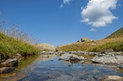 Closeup of natural spring water in the high mountains Royalty Free Stock Images