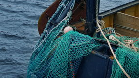 Fishing Nets On The Side Of Boat stock footage