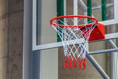 Closeup of New Basketball Hoop. In Stadium Stock Photography
