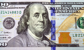 Closeup of a new one hundred American dollar bill. With Benjamin Franklin as the main visual Stock Photography