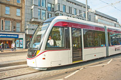 Closeup of new trams in Edinburgh Stock Photo