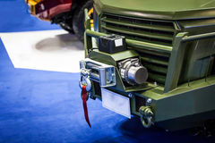 Closeup new winches with hook at Off Road vehicle front Stock Images