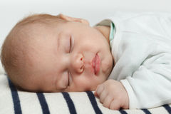 Closeup of newborn baby sleeping Royalty Free Stock Photos