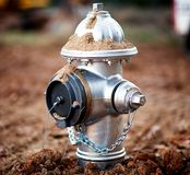 A closeup of a newly installed fire hydrant. stock images