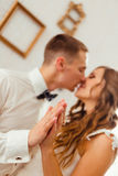 Closeup of newlyweds& x27; hands holding each other tightly Royalty Free Stock Photo