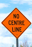 Closeup of a no centre line sign Royalty Free Stock Images