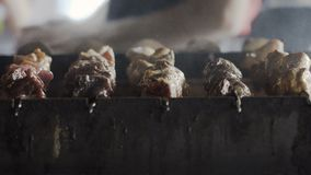 closeup No espeto tradicional Carne de porco fritada na grade Carne grelhada deliciosa barbecue video estoque