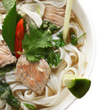 Closeup of noodle pho soup overhead Stock Photos
