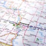 Closeup of North Dakota Road Map Stock Images