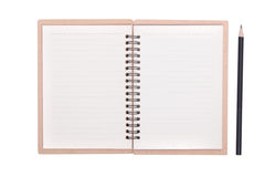 Closeup of note book and pencil Royalty Free Stock Photo