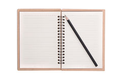 Closeup of note book and pencil Stock Image