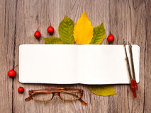 Closeup of notebook, glasses and compass, decorated with autumn yellow leaves and berries. Top view, flat lay Stock Photo