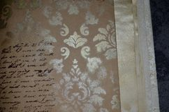 Closeup of a notebook with meaningless imitation of handwritten pattern Royalty Free Stock Photo