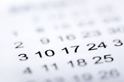 Closeup of numbers on calendar. Page. Selective focus Stock Photography