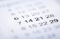 Closeup of numbers on calendar. Page. Selective focus Royalty Free Stock Photography
