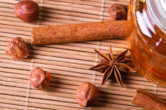 Closeup nuts and honey Stock Image