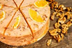 Nuts and orange cake Stock Photo