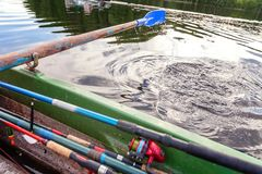 Oar paddle from row boat Stock Photos