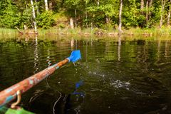 Oar paddle from row boat Stock Images