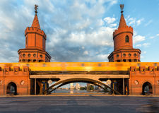 Closeup of the Oberbaum Bridge in Berlin, Germany Royalty Free Stock Images