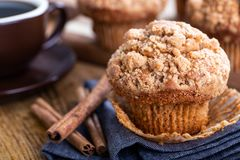 Closeup Of A Cinnamon Muffin On A Blue Napkin Royalty Free Stock Images