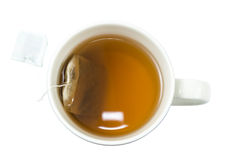 Closeup Of A Cup Of Tea And Teabag Viewed From Above Stock Images