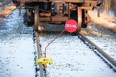 Free Closeup Of A Derail Sign On A Track Rail Stock Photography - 108903342