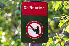 Free Closeup Of A No Hunting Sign On A Green Background Stock Images - 96875934