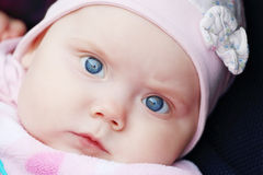 Closeup Of Beautiful Cute Little Girl Is In Carriage Royalty Free Stock Images