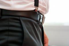 Closeup Of Belt With Suspenders. Stock Image
