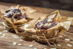 Closeup Of Chocolate Muffins With Almonds Royalty Free Stock Images