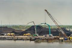 Free Closeup Of Coal Port And Stocking Operation Along Long Tau River, Phuoc Khanh, Vietnam Royalty Free Stock Photos - 164013508