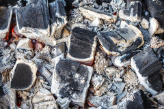 Closeup Of Decaying Wood Coals And Ash In Brazier Stock Images