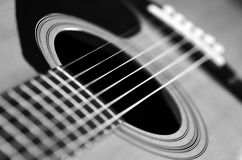 Closeup Of Guitar Strings For Music