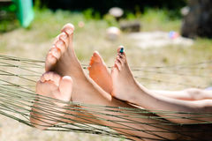 Free Closeup Of Happy Father And Child Lying Barefoot Royalty Free Stock Image - 60398796