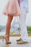 Closeup Of Male And Female Legs During A Date Royalty Free Stock Images