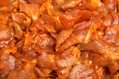 Closeup Of Marinated Chicken Meat Spicy Royalty Free Stock Image