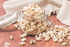 Free Closeup Of Popcorn In A Glass Jar Stock Photos - 59214413