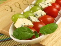 Closeup Of Skewers With Blue Cheese Stock Photos