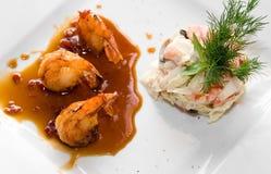 Closeup Of Tasty Gourmet Shrimps Royalty Free Stock Photography