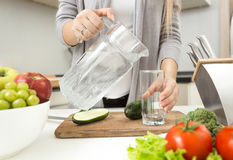 Free Closeup Of Woman Pouring Water In Glass On Kitchen Stock Photography - 62769312