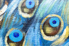 Closeup of Oil Painting of Peacock Stock Images