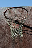 Closeup of old basketball backboard and hoop outdoor Stock Photo
