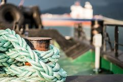 Closeup of old frayed boat rope Royalty Free Stock Photo