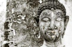 Closeup of old Buddha sculpture. Royalty Free Stock Photos